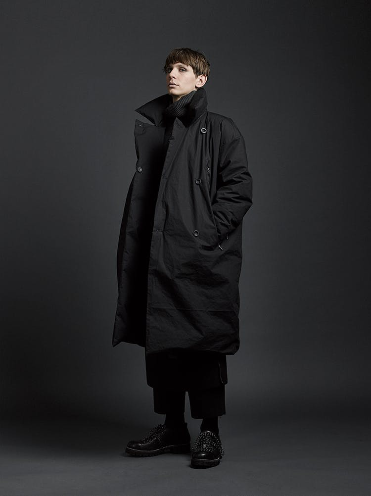The Viridi-Anne Campaign Padded Trench Coat in Black AW19
