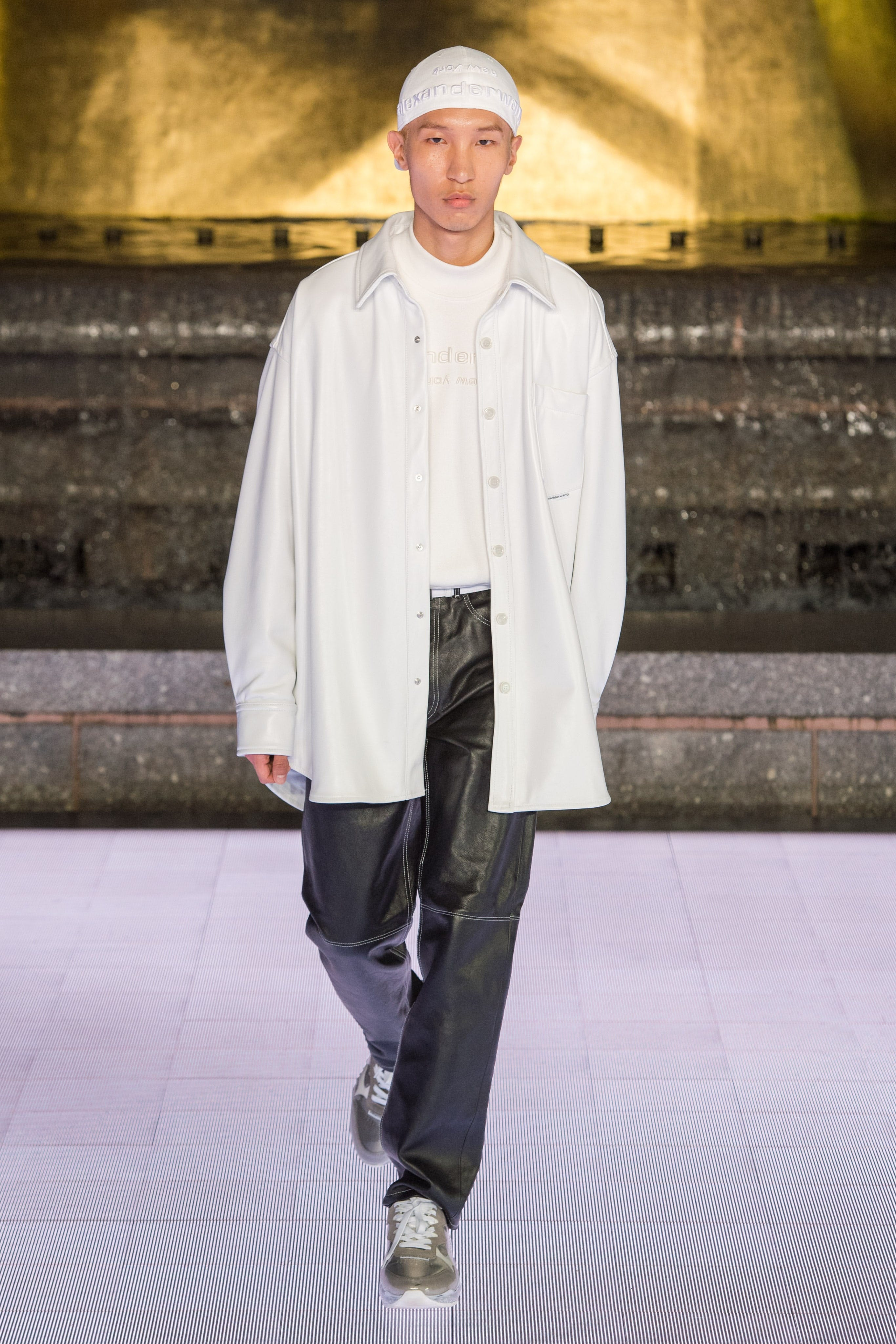 Alexander Wang Runway Oversized Long Shirt Jacket Mock Neck Logo Pull-Over Contrast Stitch Leather Trousers Awnyc Stadium Sneaker Spring 20 RTW
