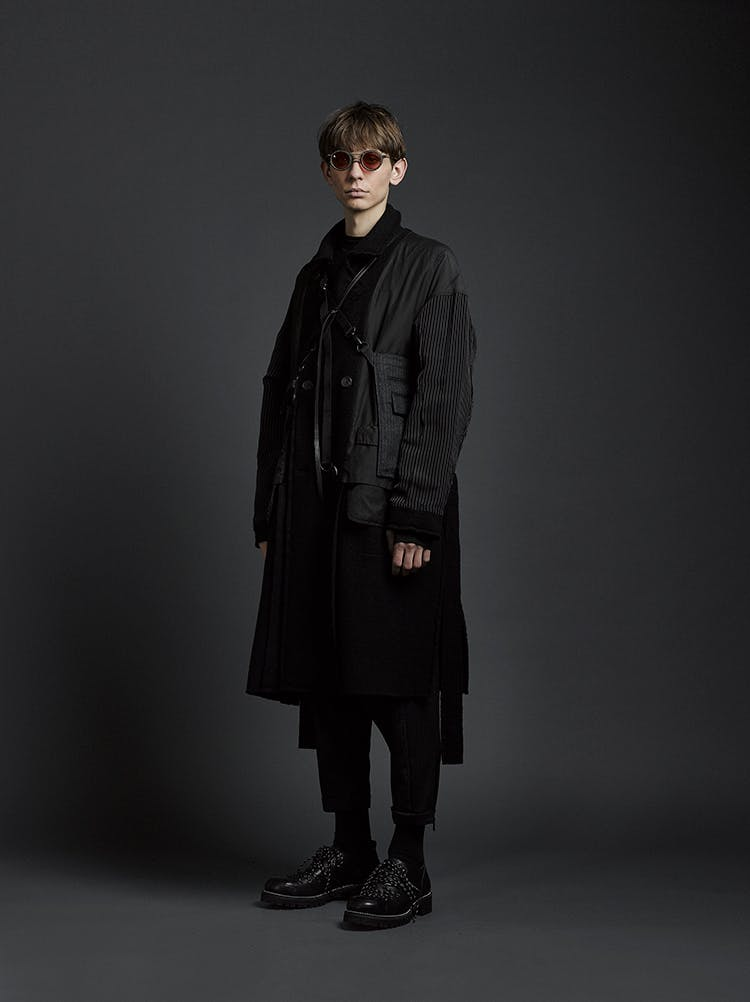 The Viridi-Anne Campaign Contrast Sleeve Combination Coat in Black Cropped Trousers in Black AW19