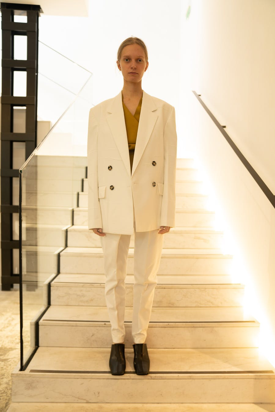 Proenza Schouler Oversized Blazer in White Drape Pants in White Spring 20 RTW