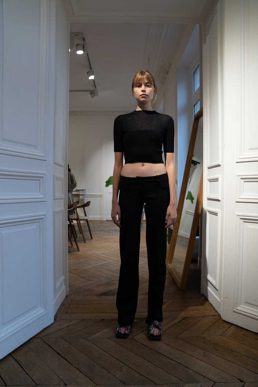 Dion Lee Backstage Rib Tee in Black Cotton Low arise Pocket Trousers Spring 20 RTW