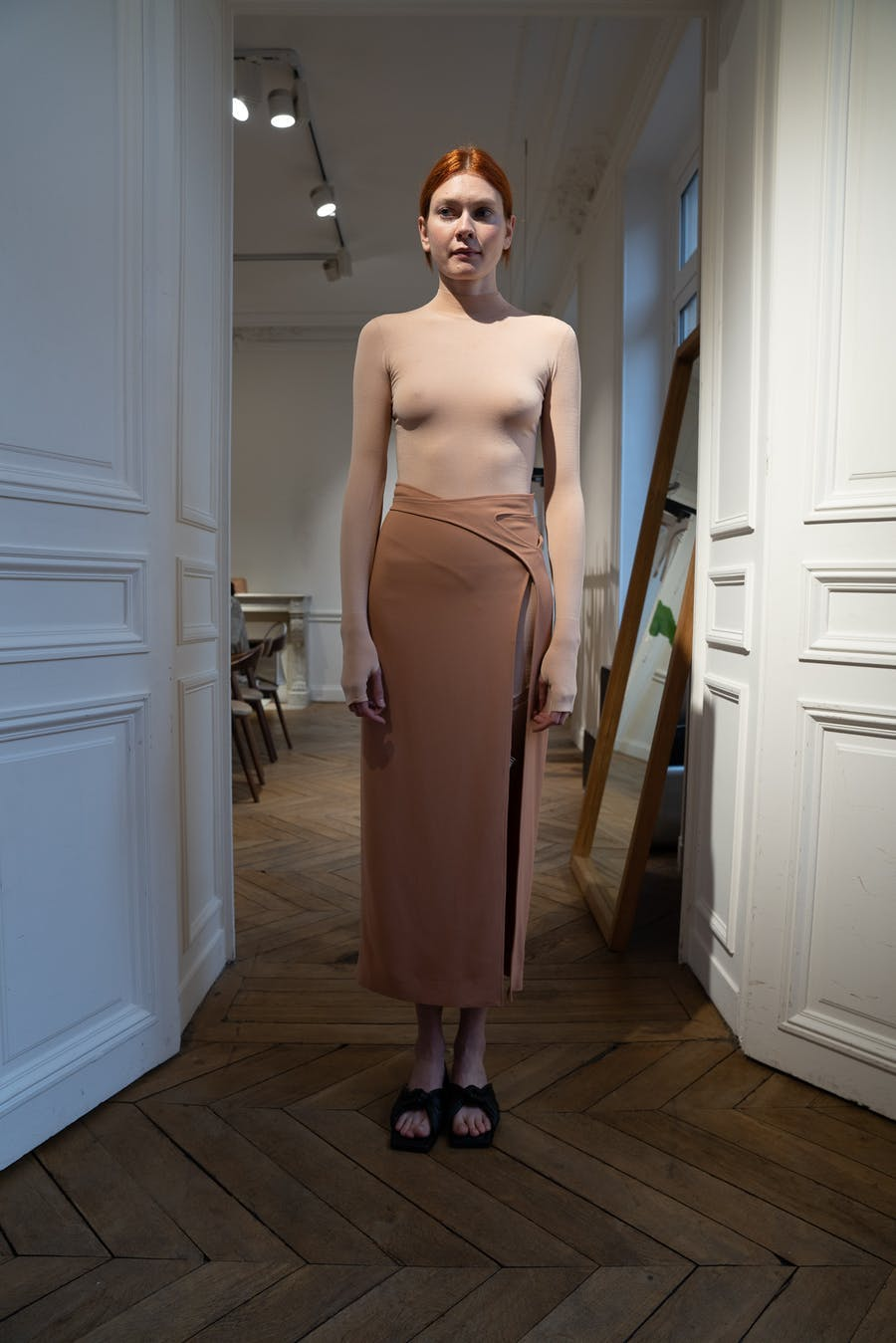 Dion Lee Backstage Garter mini Dress in Sandstone Interlock Skirt in Clay Spring 20 RTW