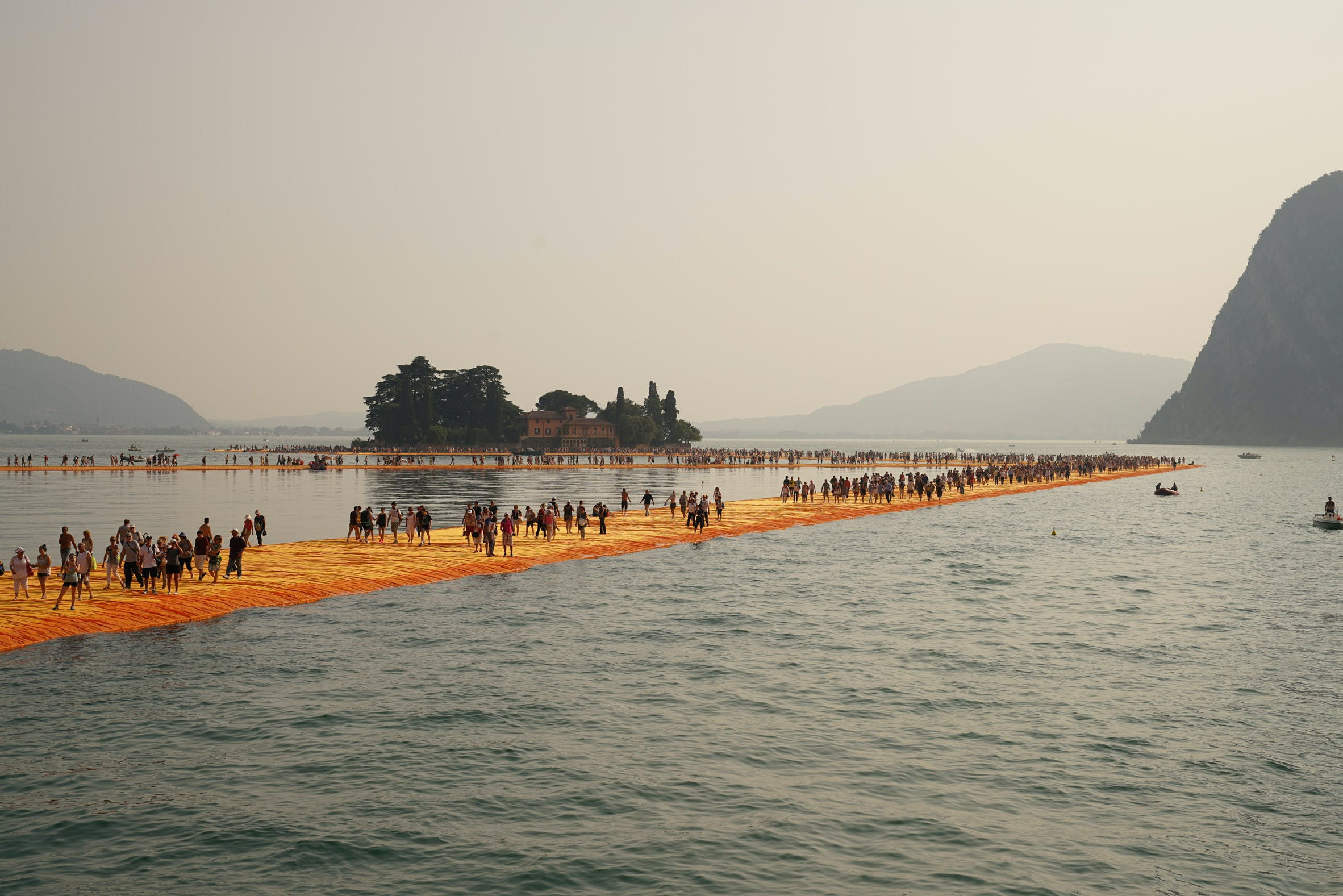 The Floating Piers, Lake Iseo, Italy, 2016.