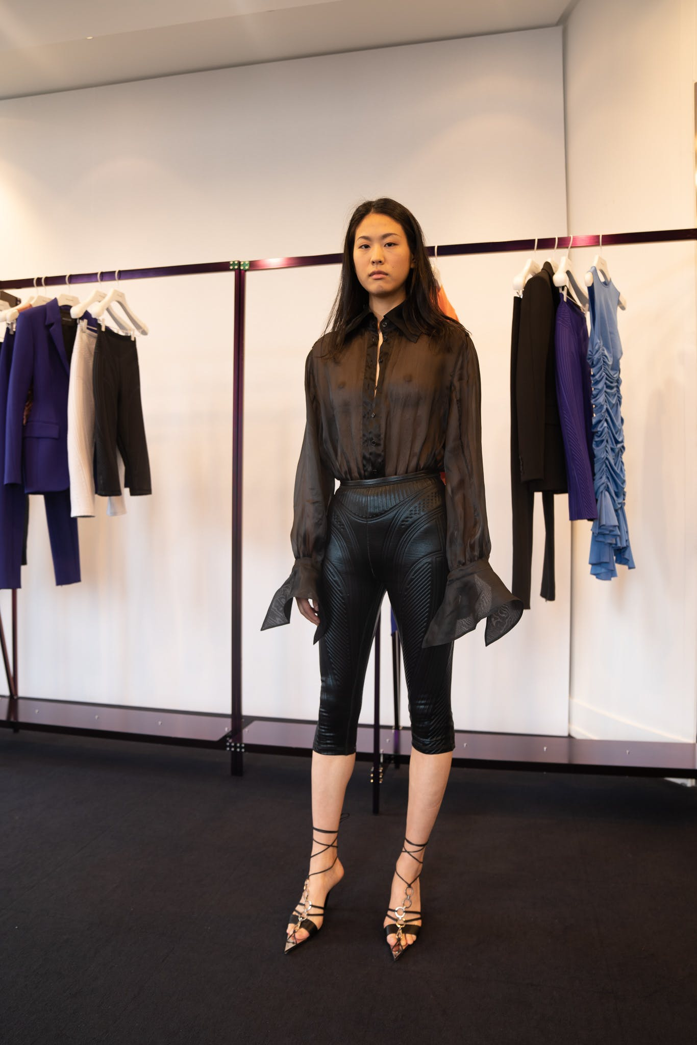 Mugler Showroom Long Sleeve Sheer Bodysuit Three Quarter Length Suba Leggings Tie Up Heels in Black	Spring 20 RTW