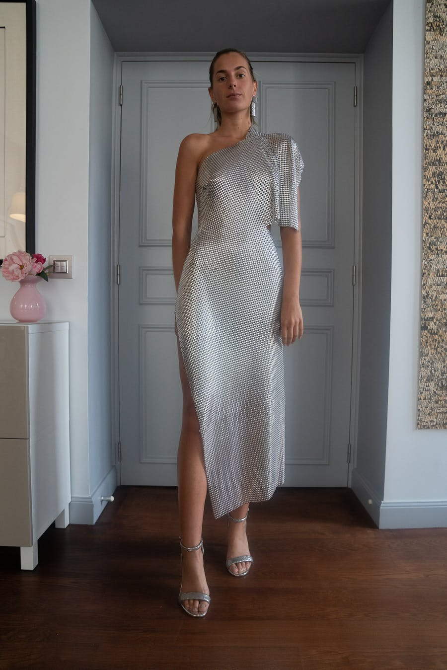 Fannie Schiavoni Margot Dress in Silver SS20