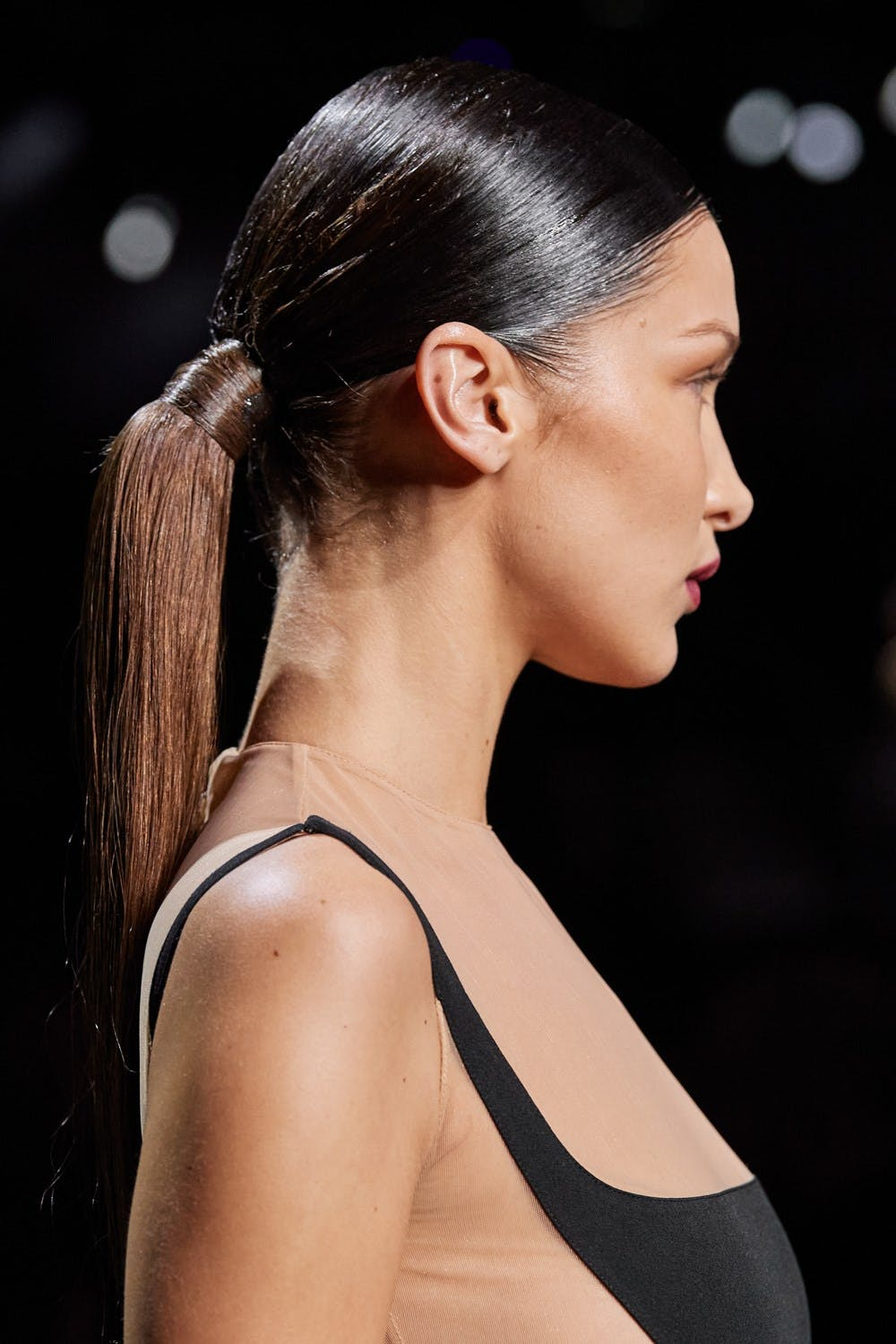 Mugler Runway Details Bella Hadid in Cut Out Bodysuit Dress Side View Fall 20 RTW