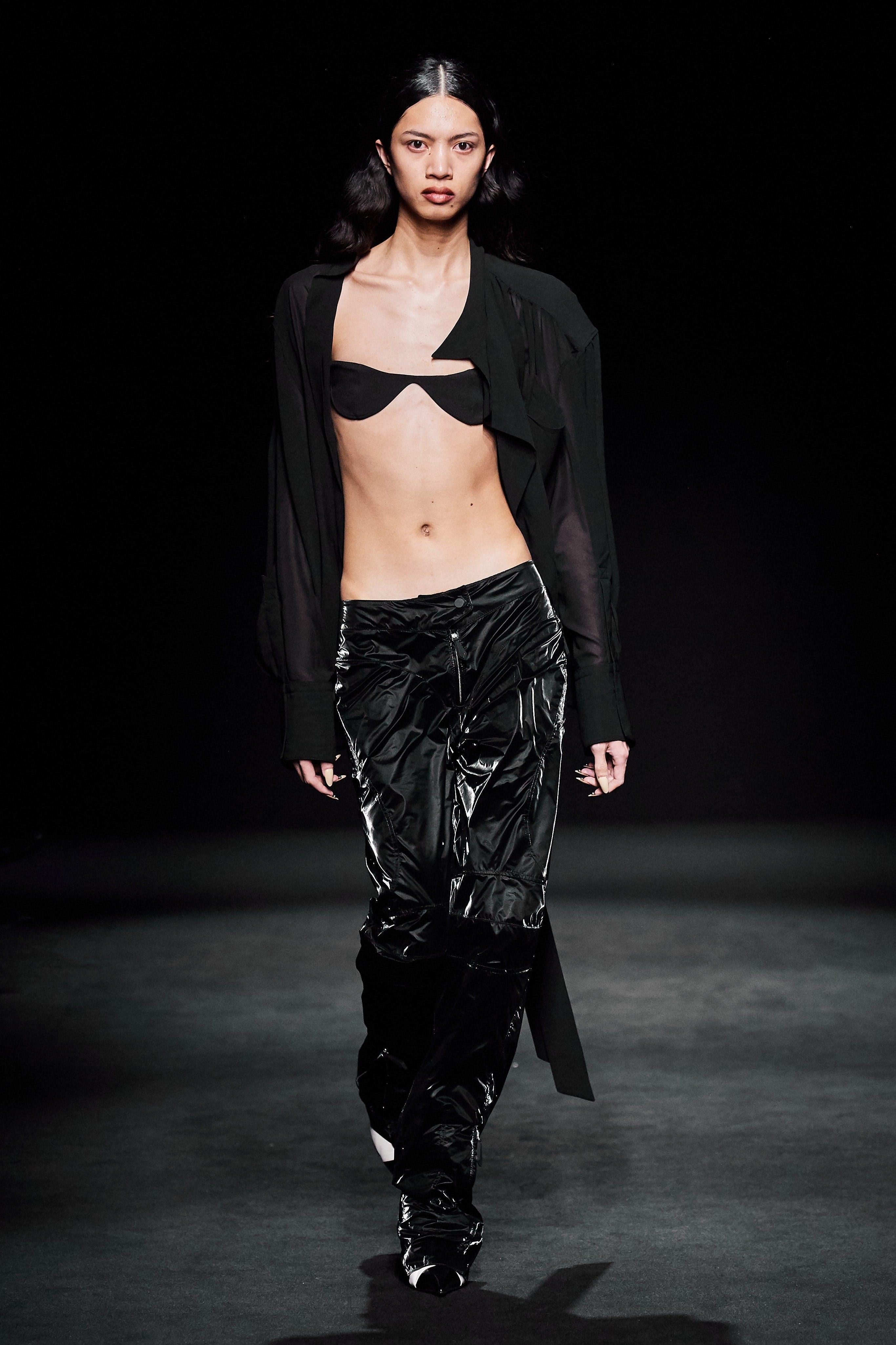 Mugler Runway Sheer Button Up Shirt Reflective Loose Fit Trousers Fall 20