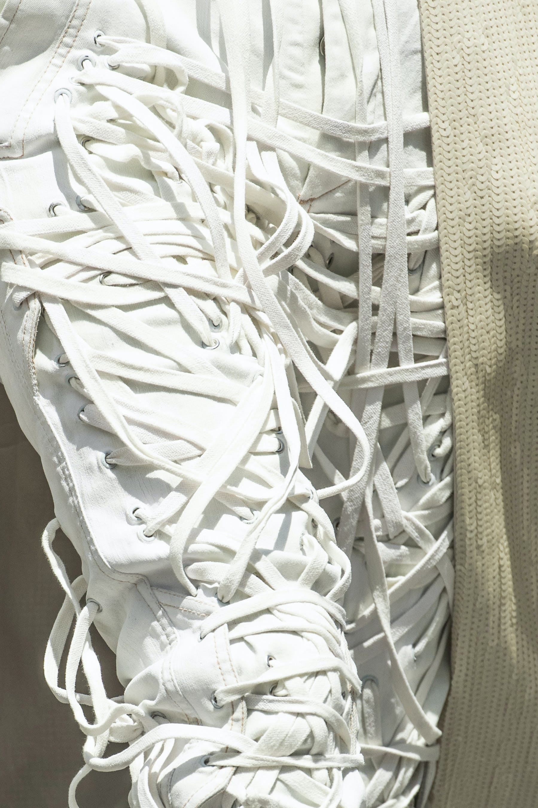 Rick Owens Runway Details Thomas Megalace Front Joggers In White Mens SS20 Tecautl
