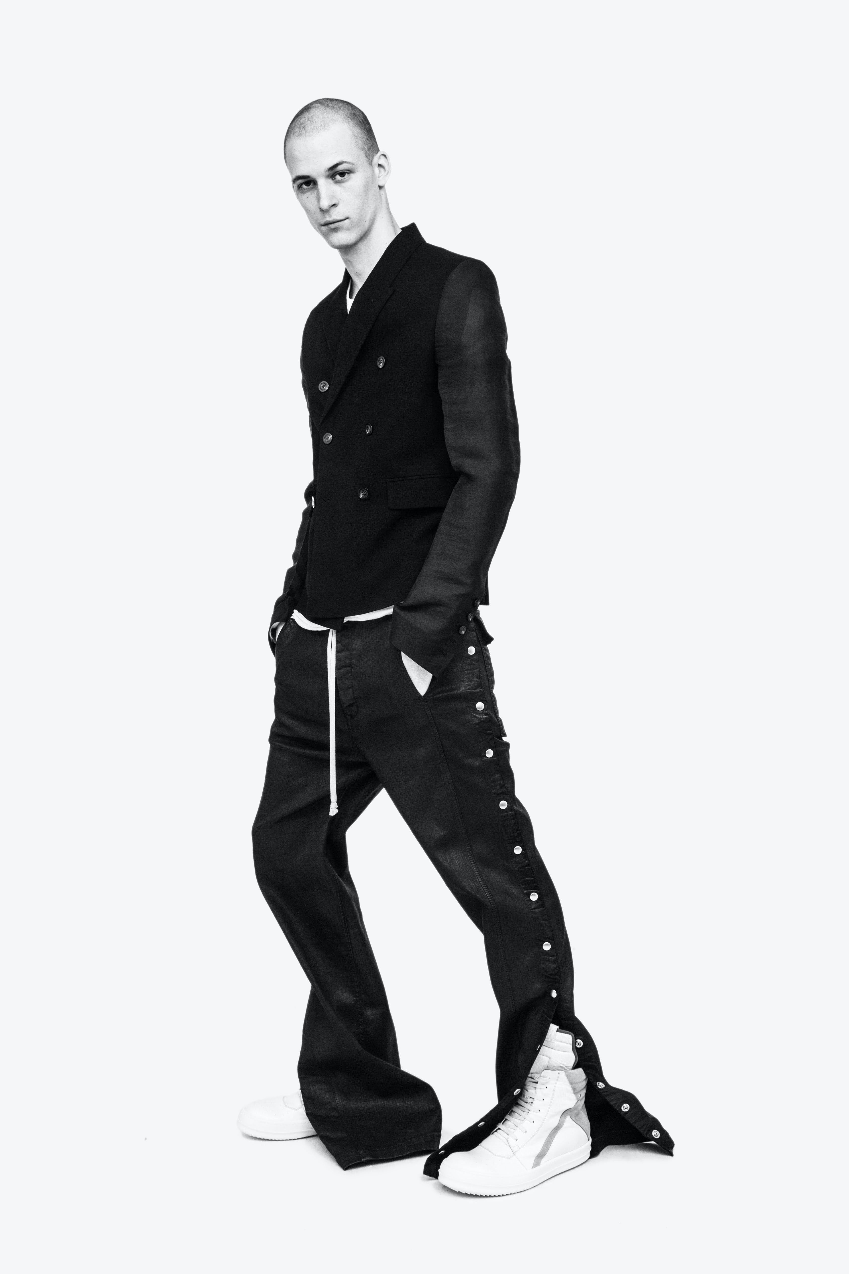 Rick Owens Campaign Double Breasted Leather Sleeve Blazer Side Snap Button Trousers Geo Basket Sneakers In White and Grey Mens SS19 Babel