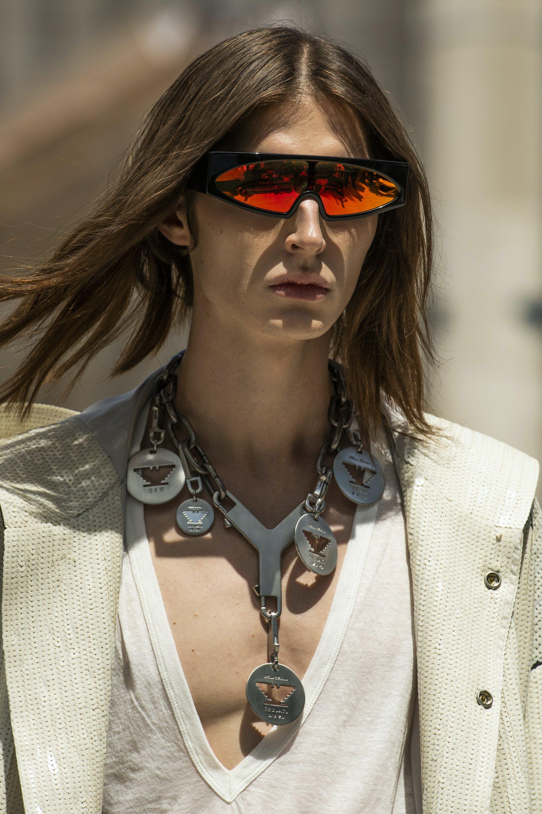 Rick Owens Runway Details Retro Futuristic Black Rectangular Framed Sunglasses Red Reflective Lenses Chain Necklace Cerberus Key Chain UFW Aztec Eagle Logo Pendants Mens SS20 Tecautl