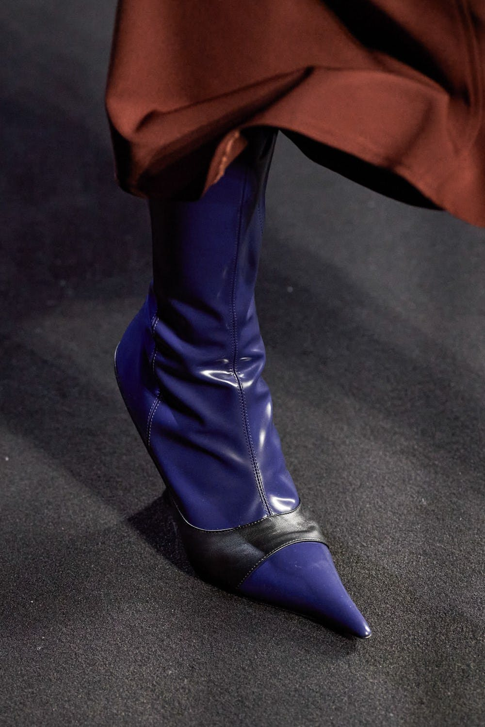 Mugler Runway Details High Color Blocked Boots in Blue and Black Leather Fall 20 RTW