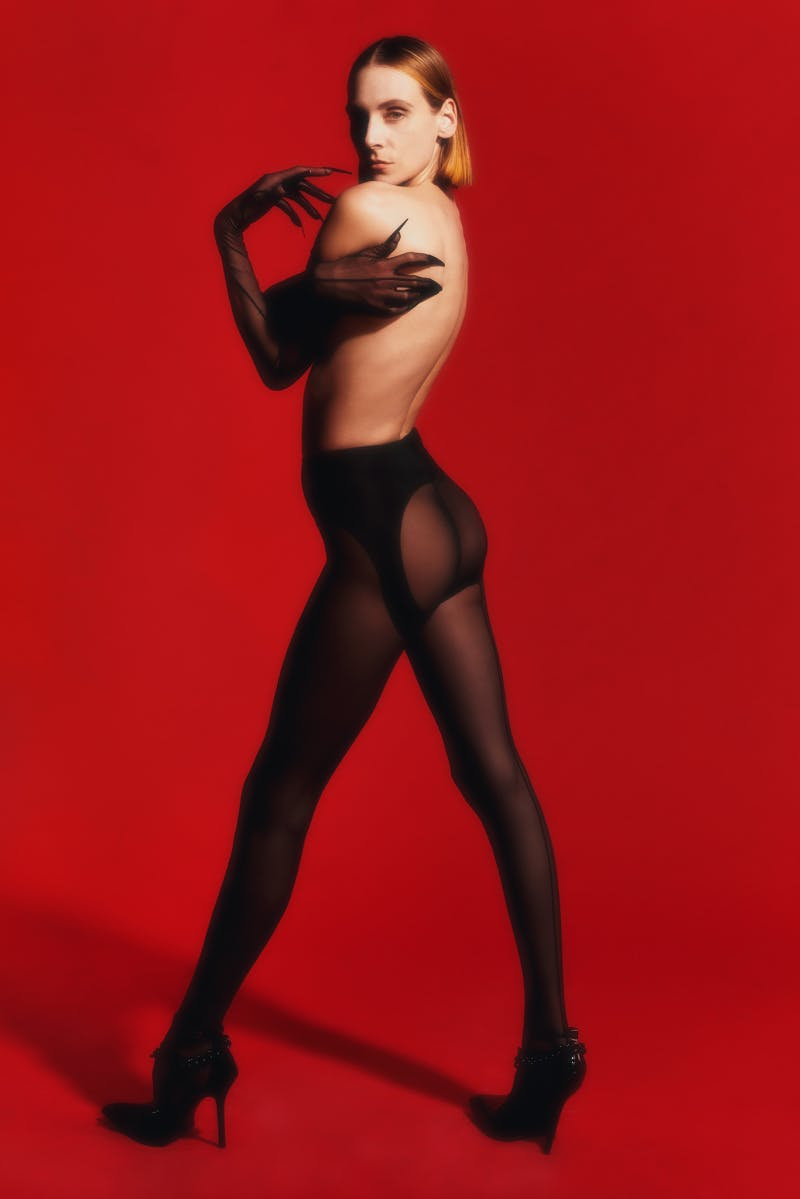 Mugler Campaign Panel Leggins Sheer Gloves Resort 20