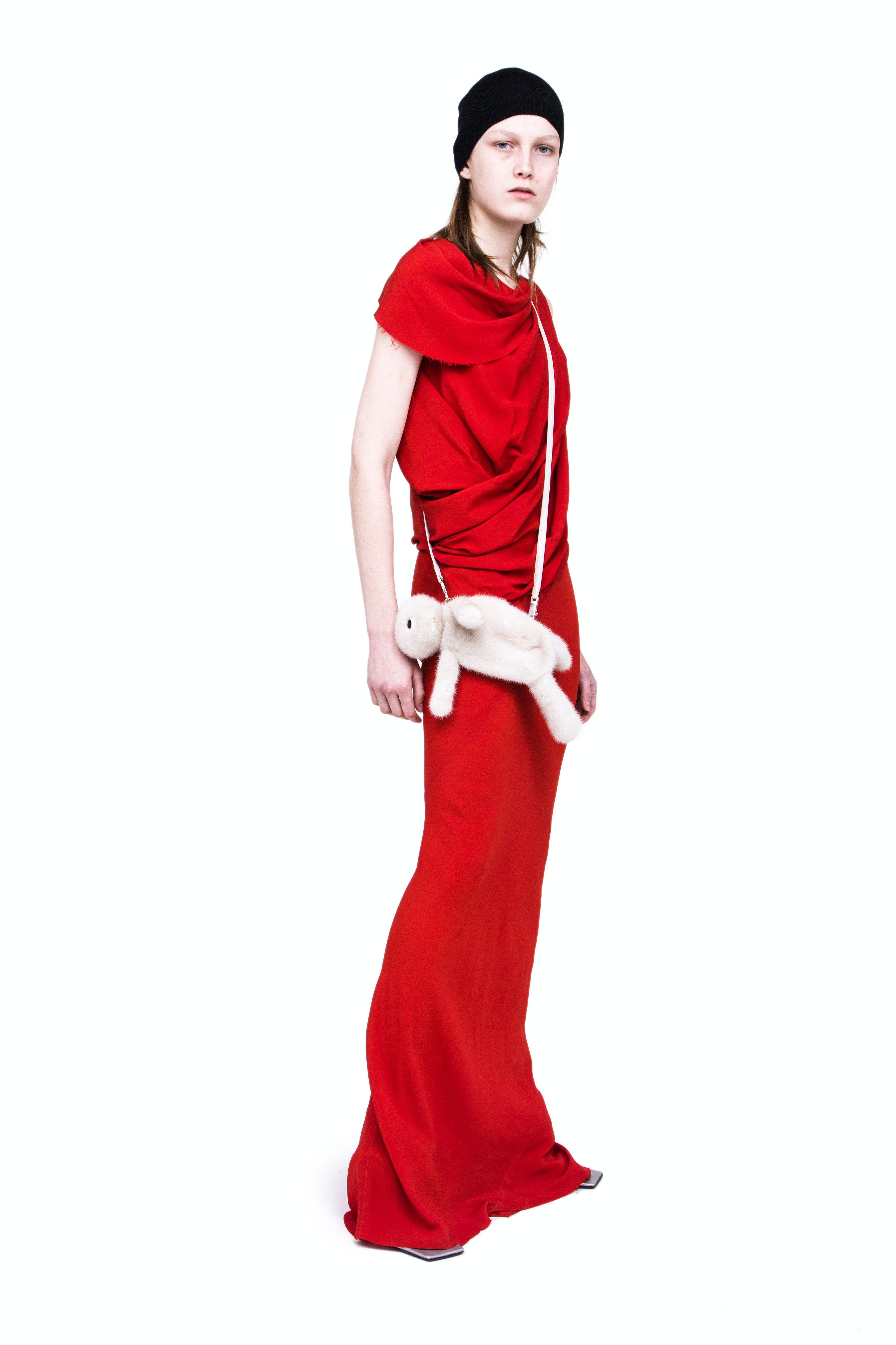 Rick Owens Campaign Cowl Neck Draped Dress in Red Hun Fat Bunny In White Womens SS19 Babel