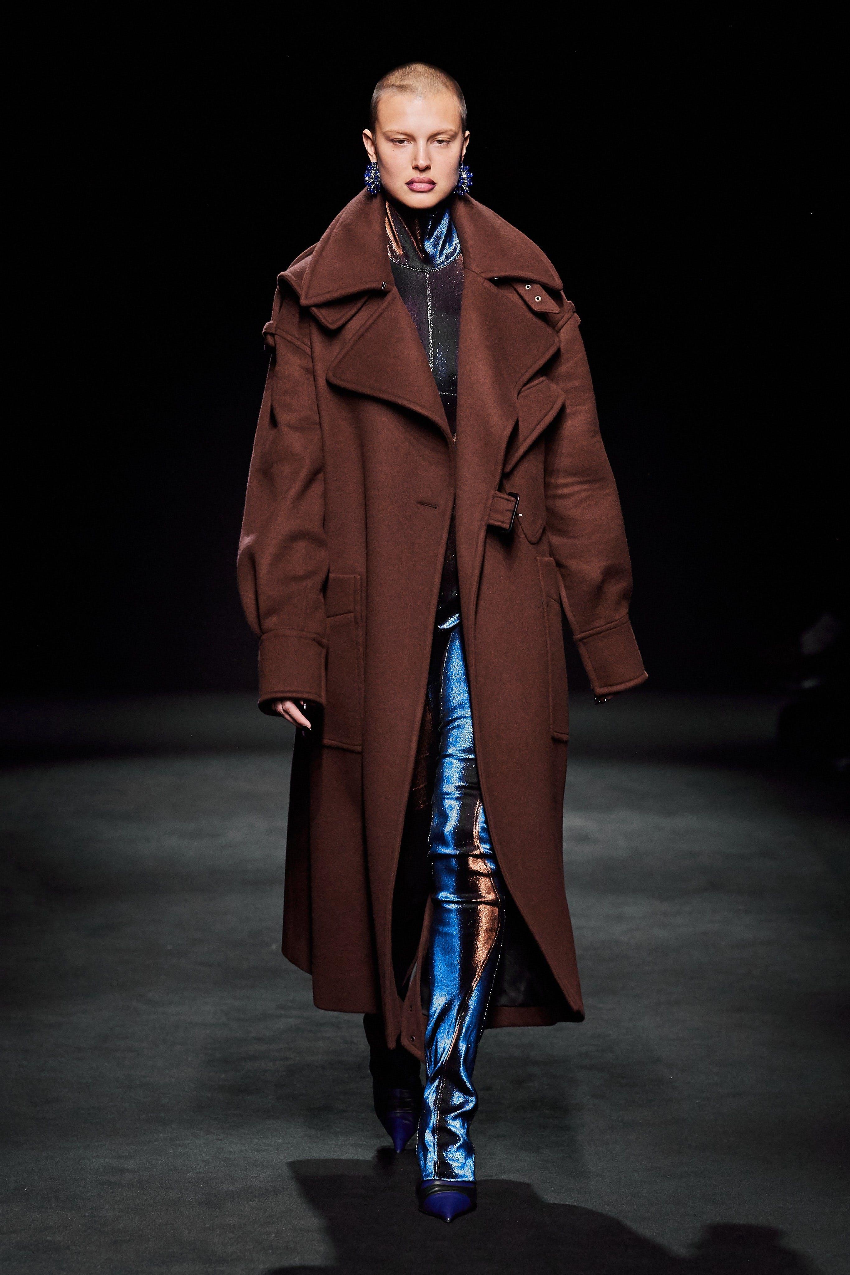 Mugler Runway Oversized Trench Coat in Brown Print Full Bodysuit Fall 20
