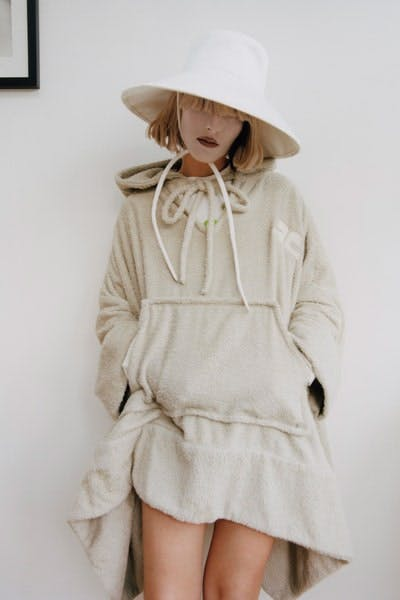 Courreges Right Hat in White RC Oversized Hoodie Resort 20