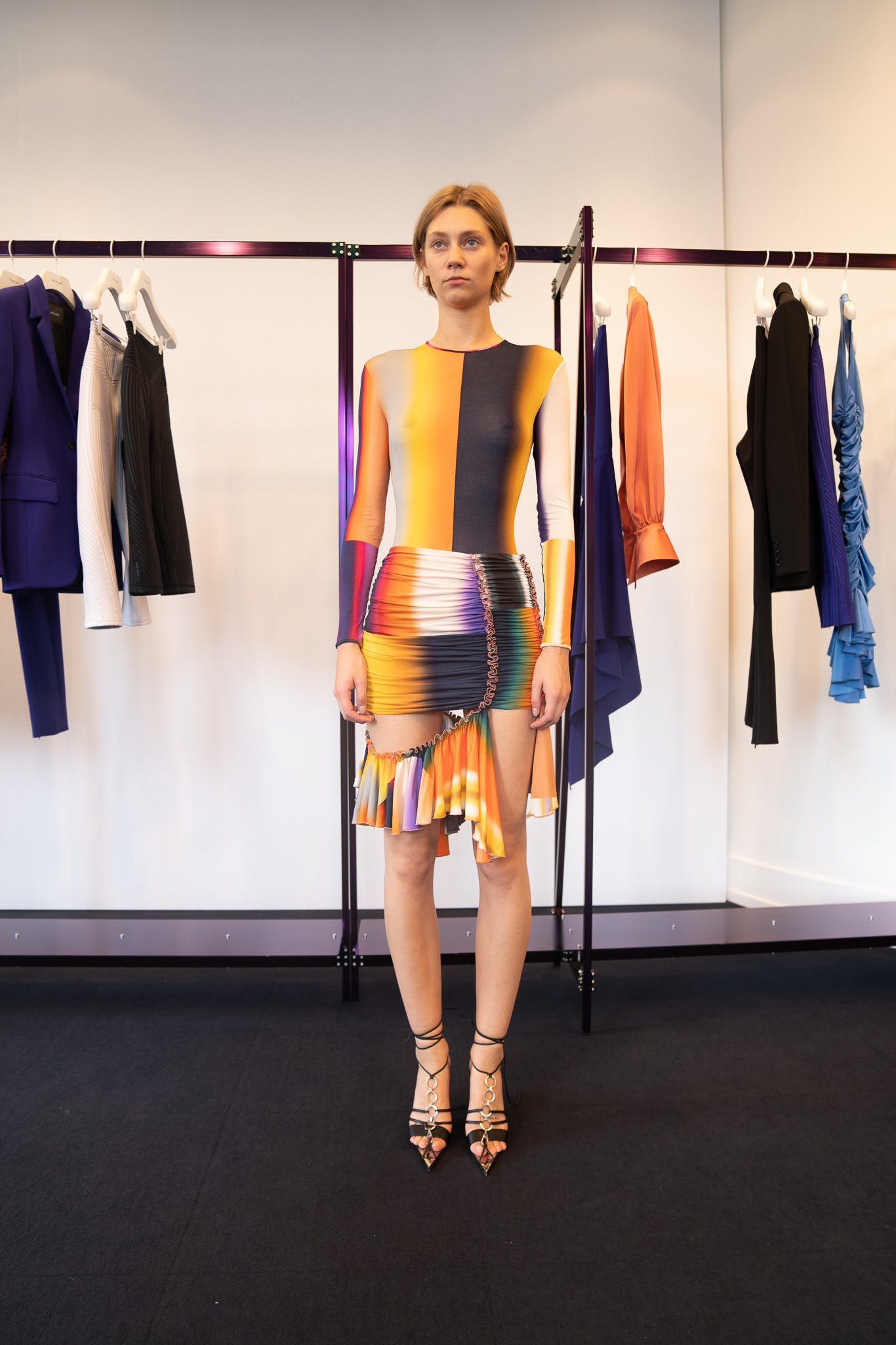 Mugler Showroom Long Sleeve Multi-Color Print Cut Out Dress Spring 20 RTW