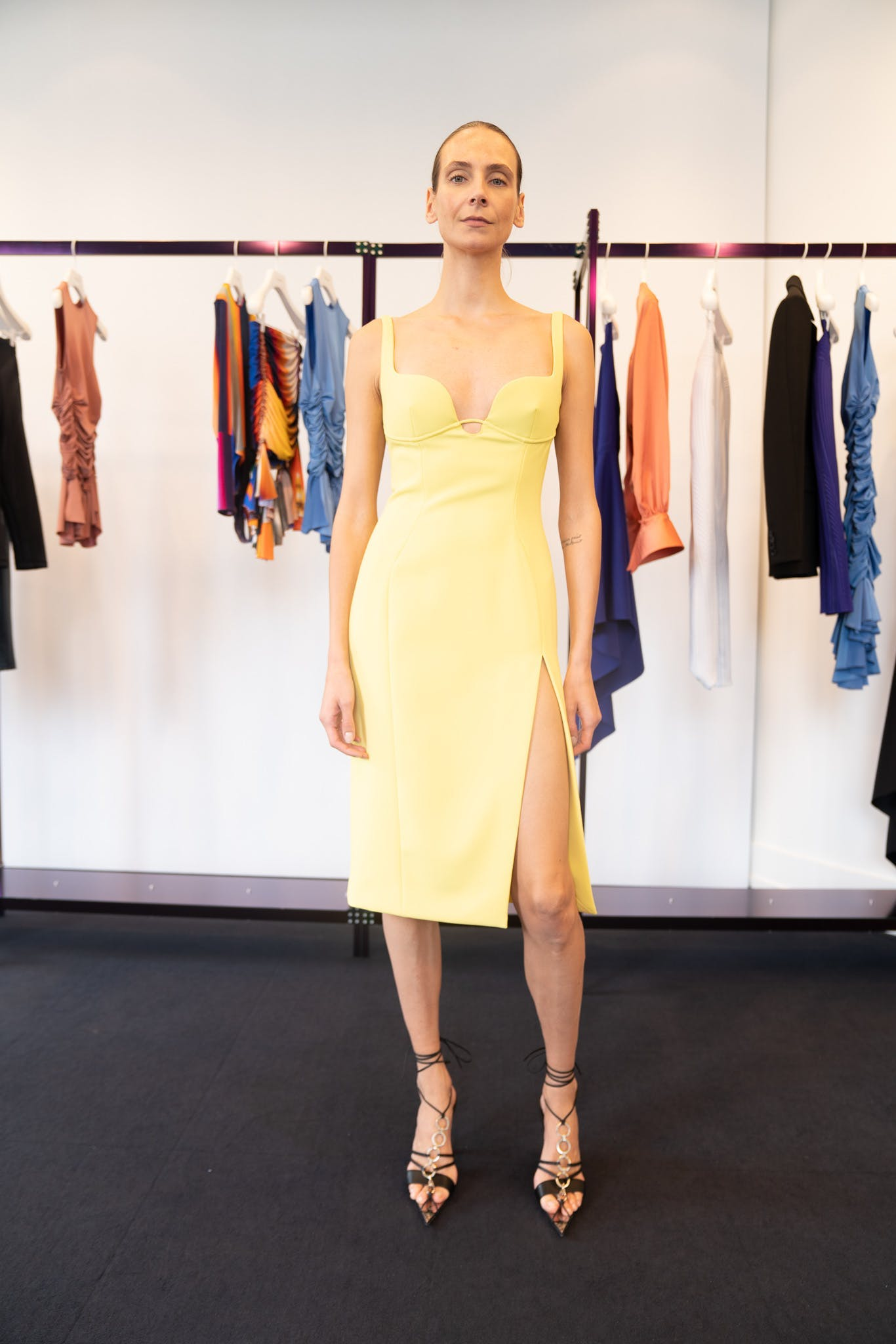 Mugler Showroom Slit Dress in Yellow Tie Up Heels in Black Spring 20 RTW