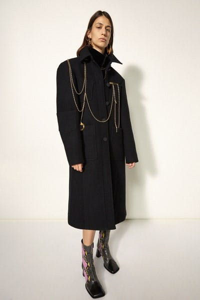 Ellery Chain Detail Coat in Black Faux Snakeskin Multi Color Square Toe Boots Fall 19 RTW