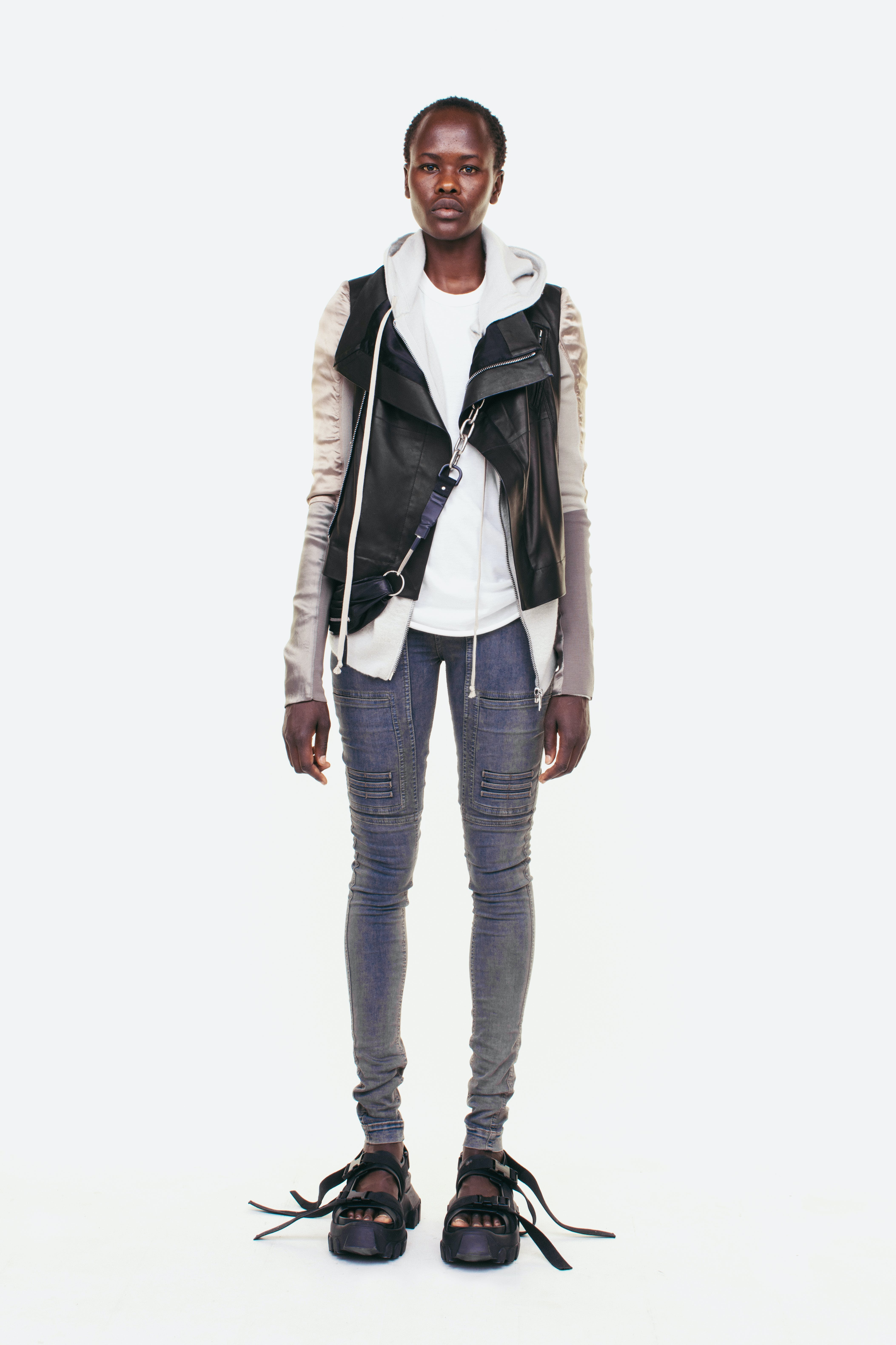 Rick Owens Campaign Zip Up Hoodie In Grey Biker Silk Sleeve Jacket Biker Jeans in Washed Denim Long Strap Sandals in Black Womens SS19 Pre Collection
