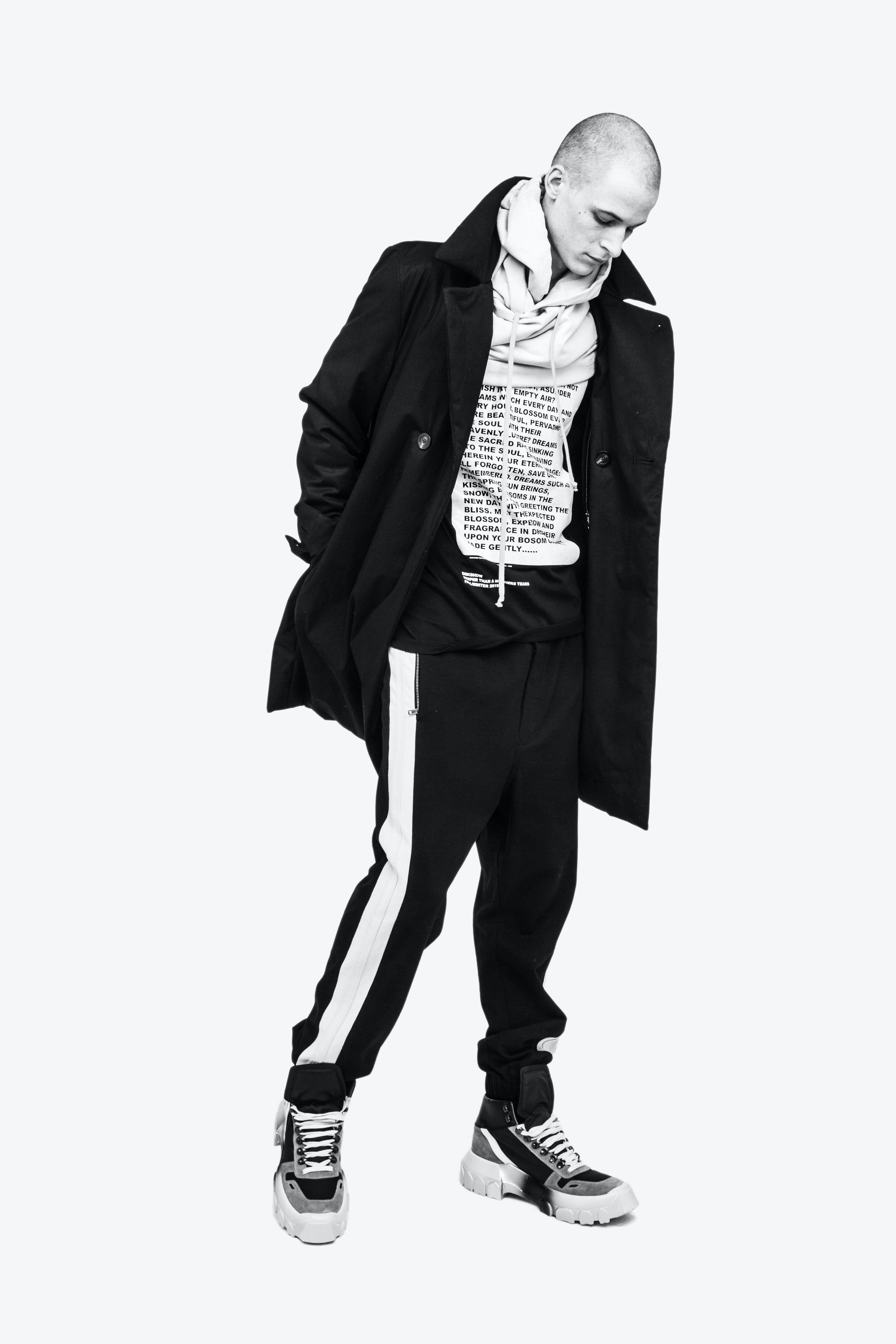 Rick Owens Campaign Trench Coat in Black Hoodie in White Side Stripe Drawstring Pants Tractor Sneakers Mens SS19 Babel