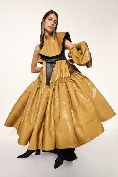 Ellery Ruffle Pleated Faux Leather Dress in Yellow Fall 19 RTW