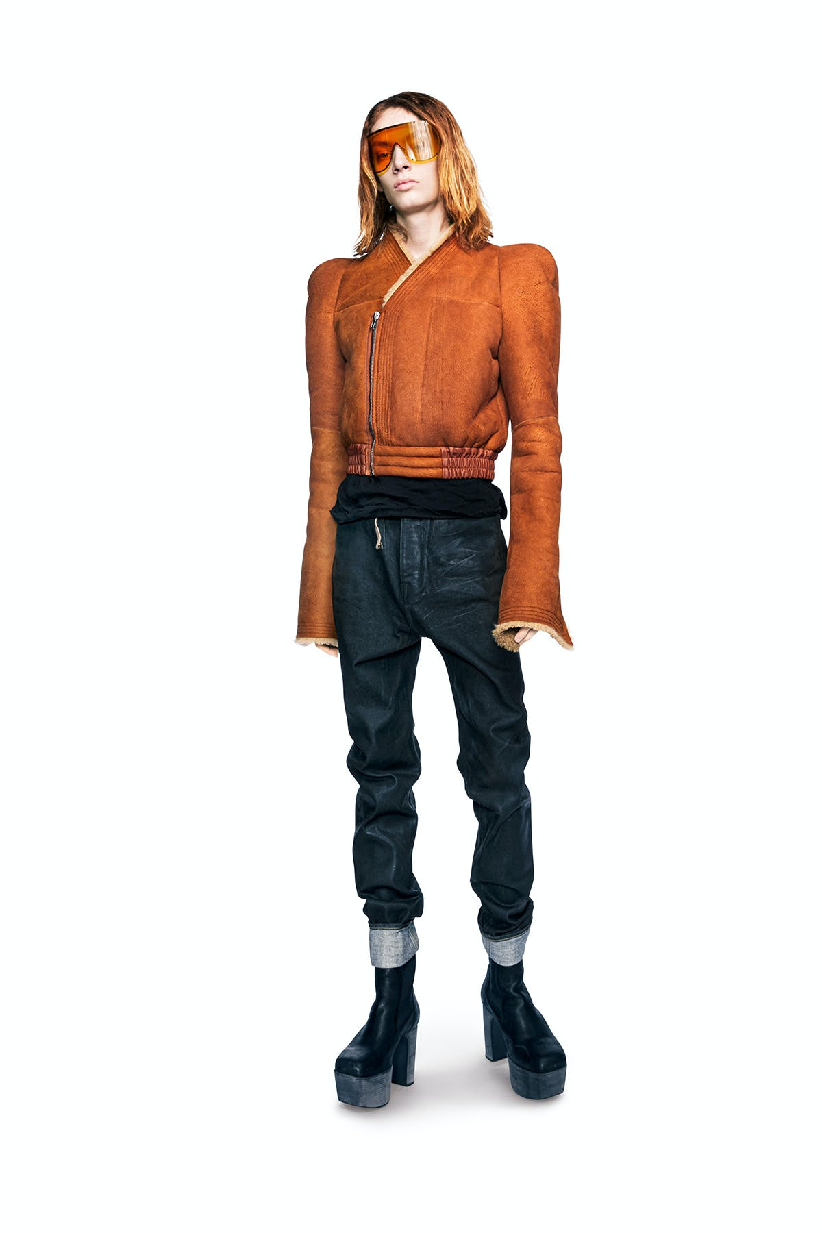 Rick Owens Campaign Sheild Sunglasses In Orange Sherling Stiched Panel Jacket in Orange Jeans In Navy Kiss Boots in Black Leather Mens FW19 Larry