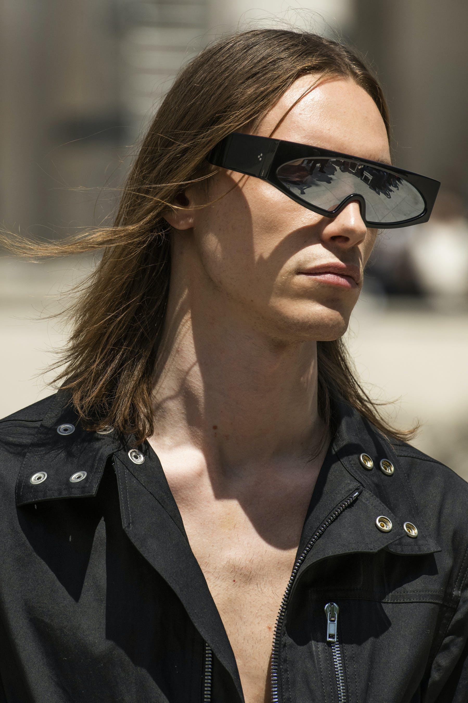 Rick Owens Runway Details Retro Futuristic Black Rectangular Framed Sunglasses Ies bodybag In Black Cotton Mens SS20 Tecautl