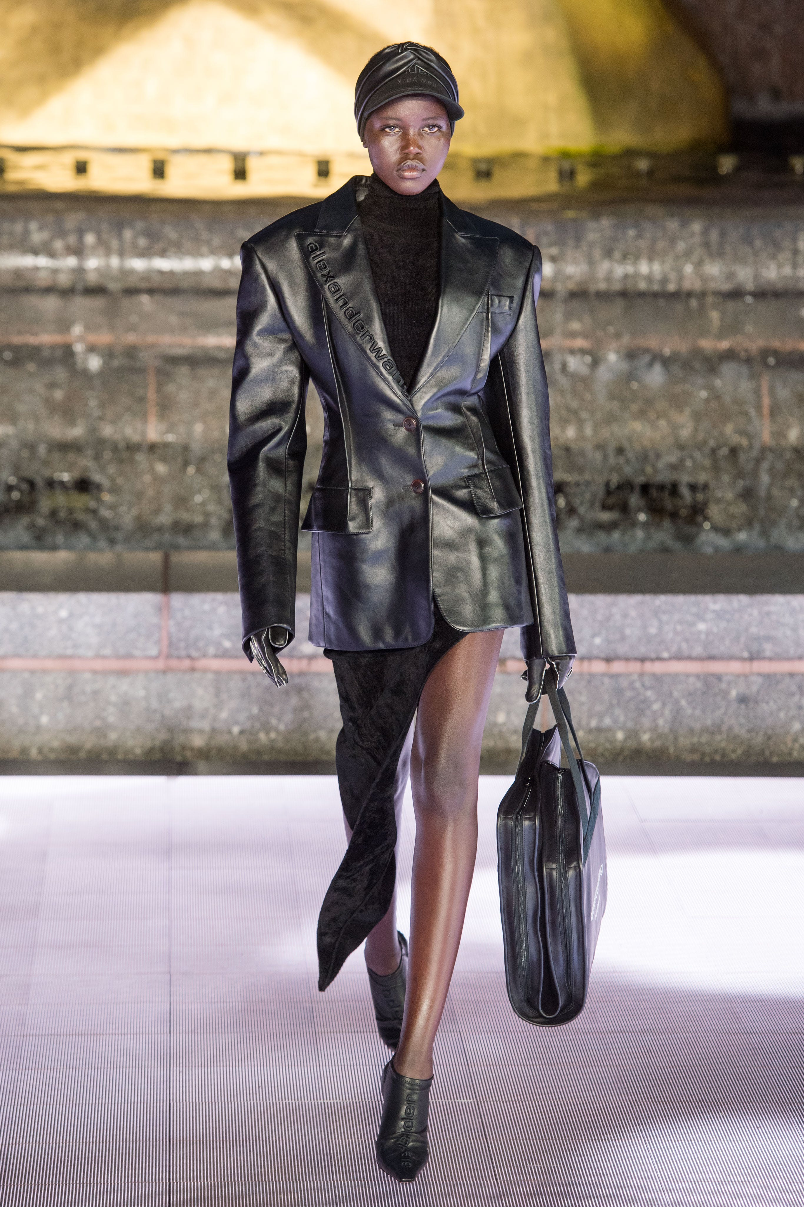 Alexander Wang Runway Oversized Padded Shoulder Blazer Turtleneck in Black Asymmetric Floor Length Skirt in Black Vanna Mule in Black Spring 20 RTW