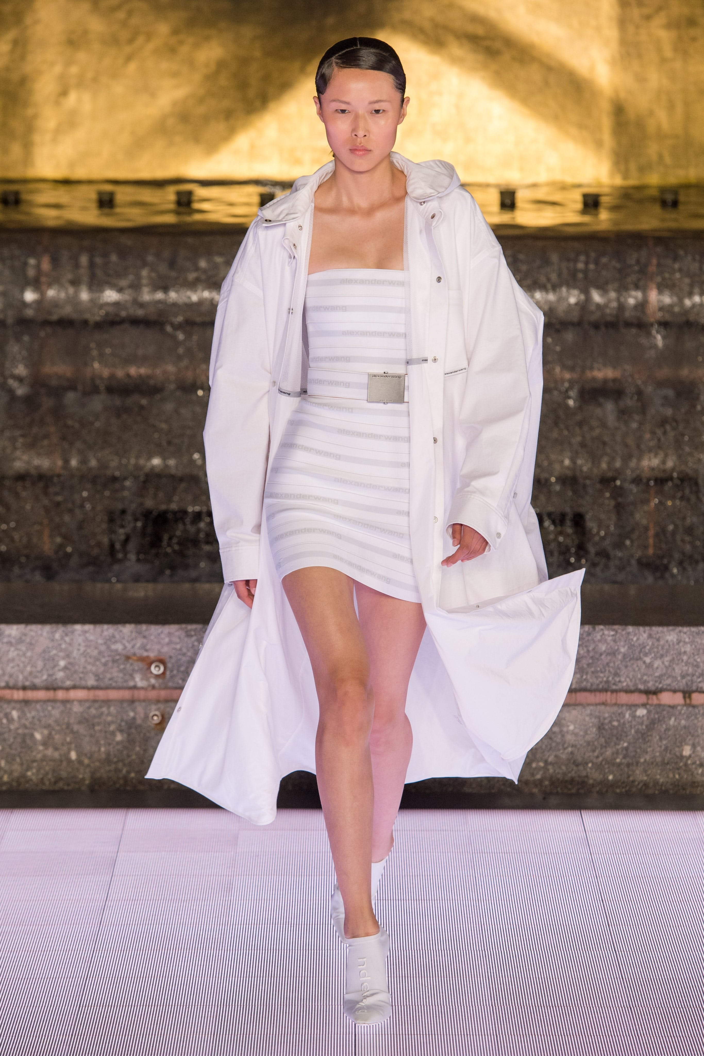 Alexander Wang Runway Oversized Hooded Parka in White Logo Elastic Bandeau Dress in White Vanna Mule in White Spring 20 RTW