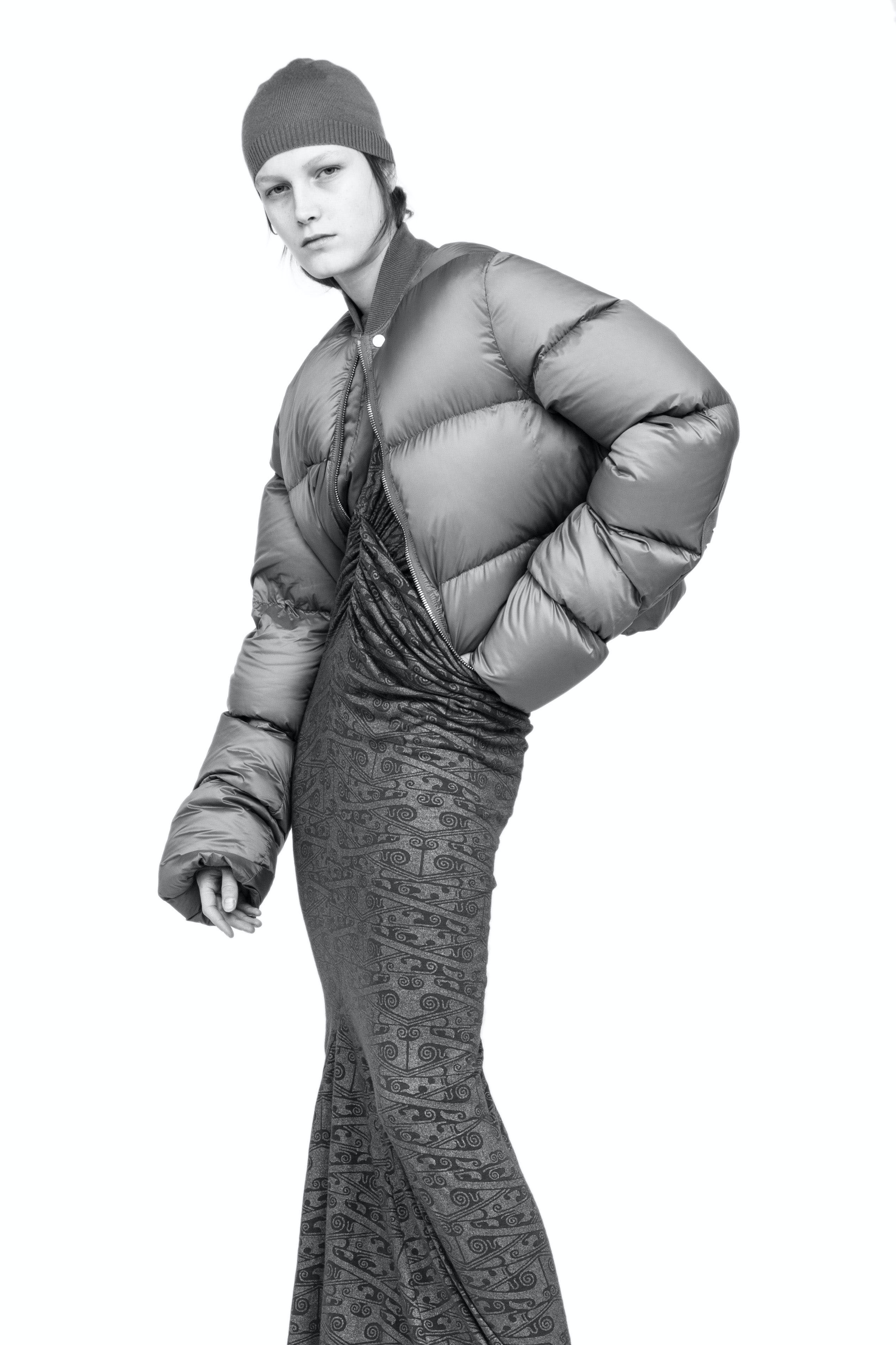 Rick Owens Campaign Wool Beanie in Grey Cropped Puffer Bomber Jacket in Grey Ruched Print Dress Womens SS19 Babel