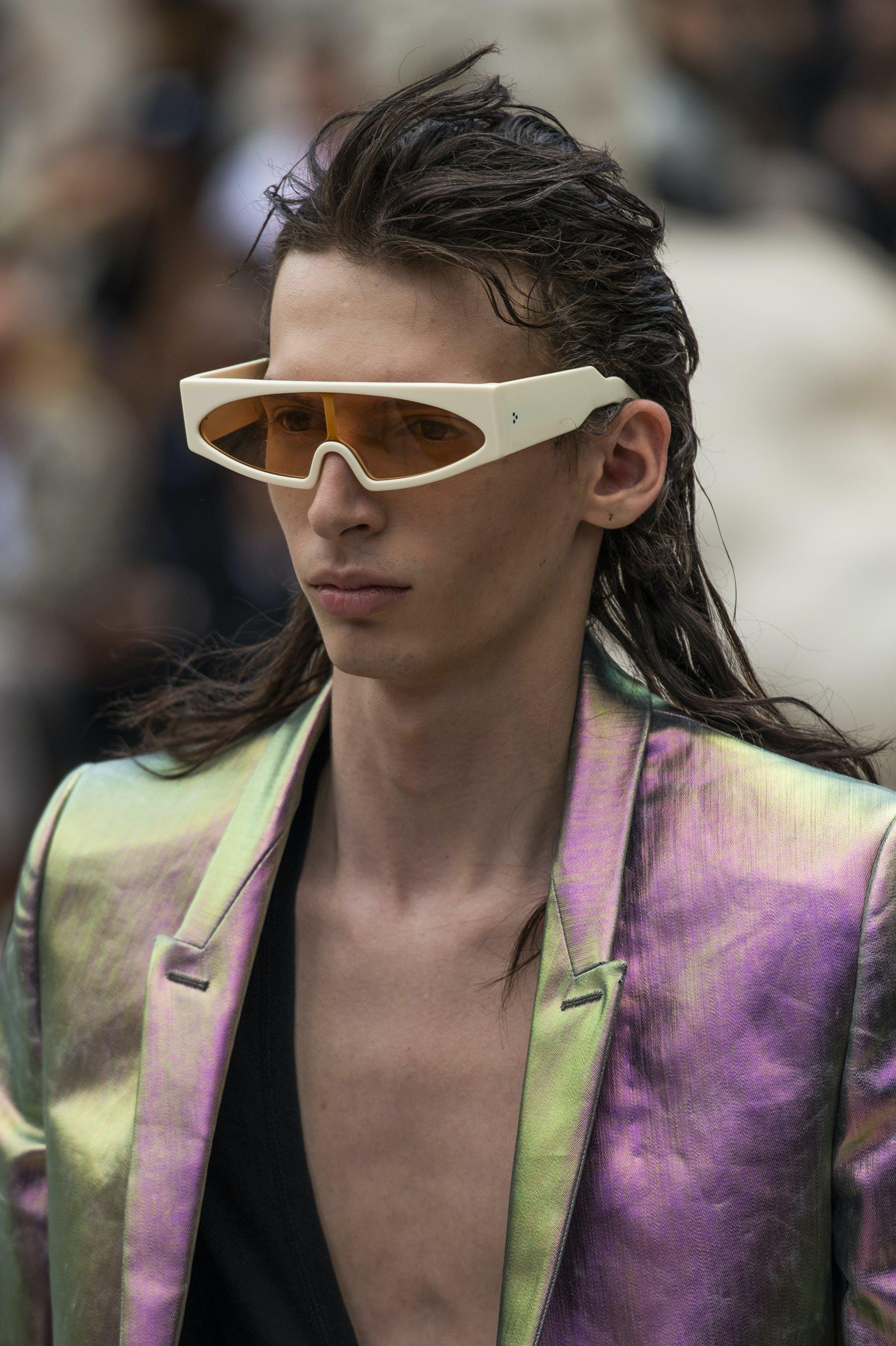 Rick Owens Runway Details Retro Futuristic White Rectangular Framed Sunglasses Tatlin Blazer In Iridescent Lemon Yellow Mens SS20 Tecautl
