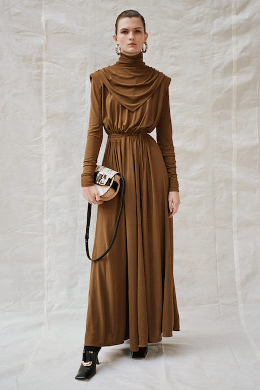 Proenza Schouler Cowl Neck Long Sleeve Dress in Brown Pre Fall 20