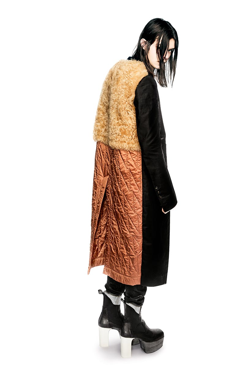 Rick Owens Campaign Multi Fabric Mid Length Coat Slim Selvedge Denim Jeans Elastic Kiss Boots With Color Block Heel in Black Leather Mens FW19 Larry