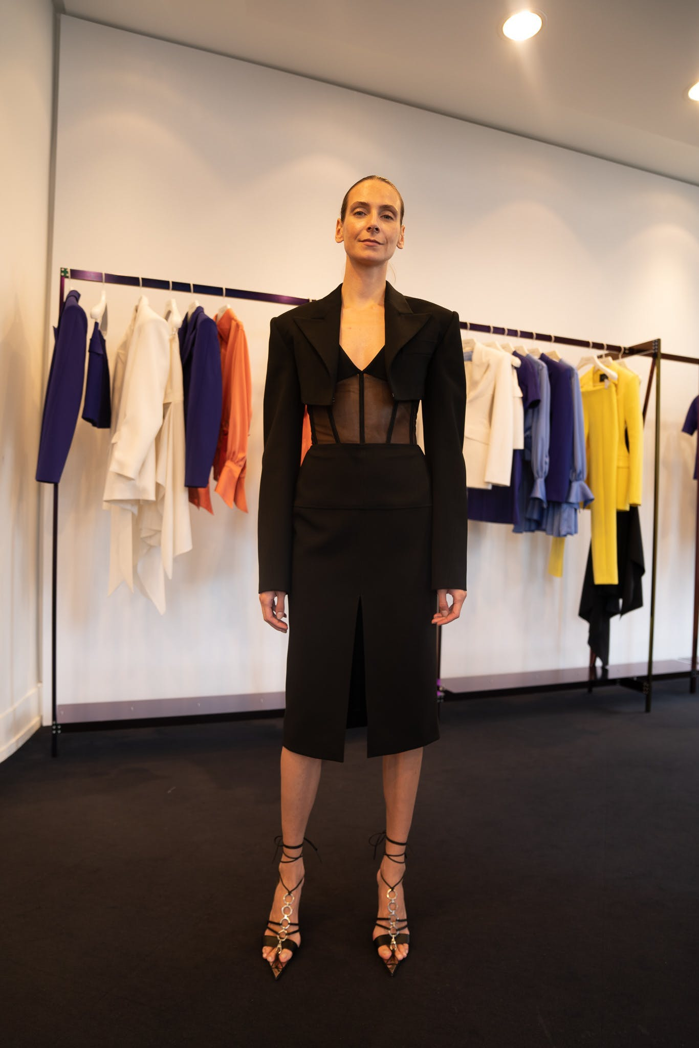 Mugler Showroom Cropped Blazer in Black Sheer Bodysuit Front Slit Skirt Tie Up Wrap Heels Spring 20 RTW