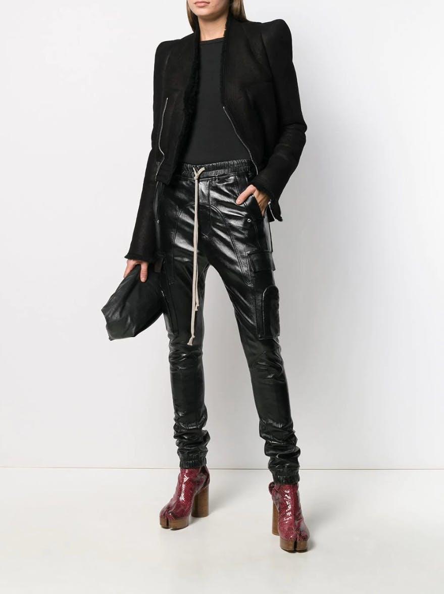 rick owens fw19 Larry sherling stitched panel jacket black leather drawstring cargo joggers