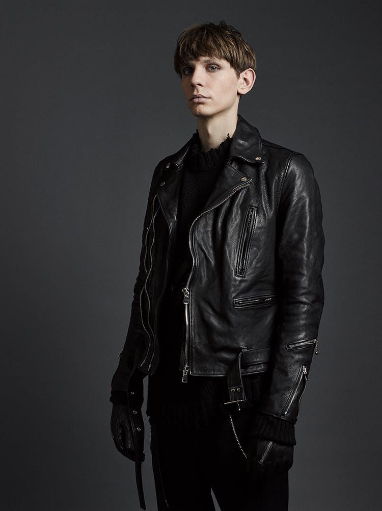 The Viridi-Anne Campaign Biker Zip Detail Jacket in Black Leather Destroyed Collar Jumper in Black Zip Detail Textured Gloves in Black Leather AW19