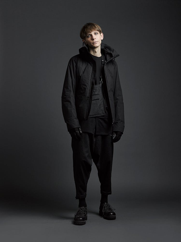 The Viridi-Anne Campaign High Neck Zip Puffer Jacket in Black Loose Fit Trousers in Black AW19