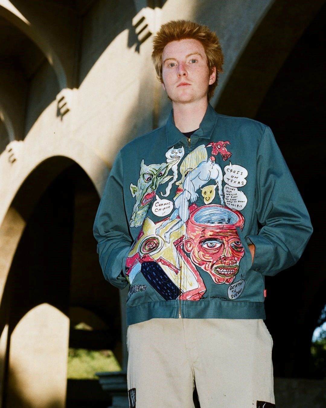 Supreme capsule collection featuring artwork by legendary musician Daniel Johnston - Green jacket.