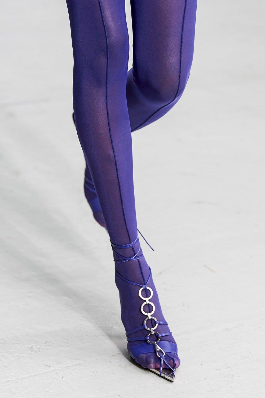 Mugler Runway Details Leggins in Purple Tie up Pointed Heels in Purple Spring 20