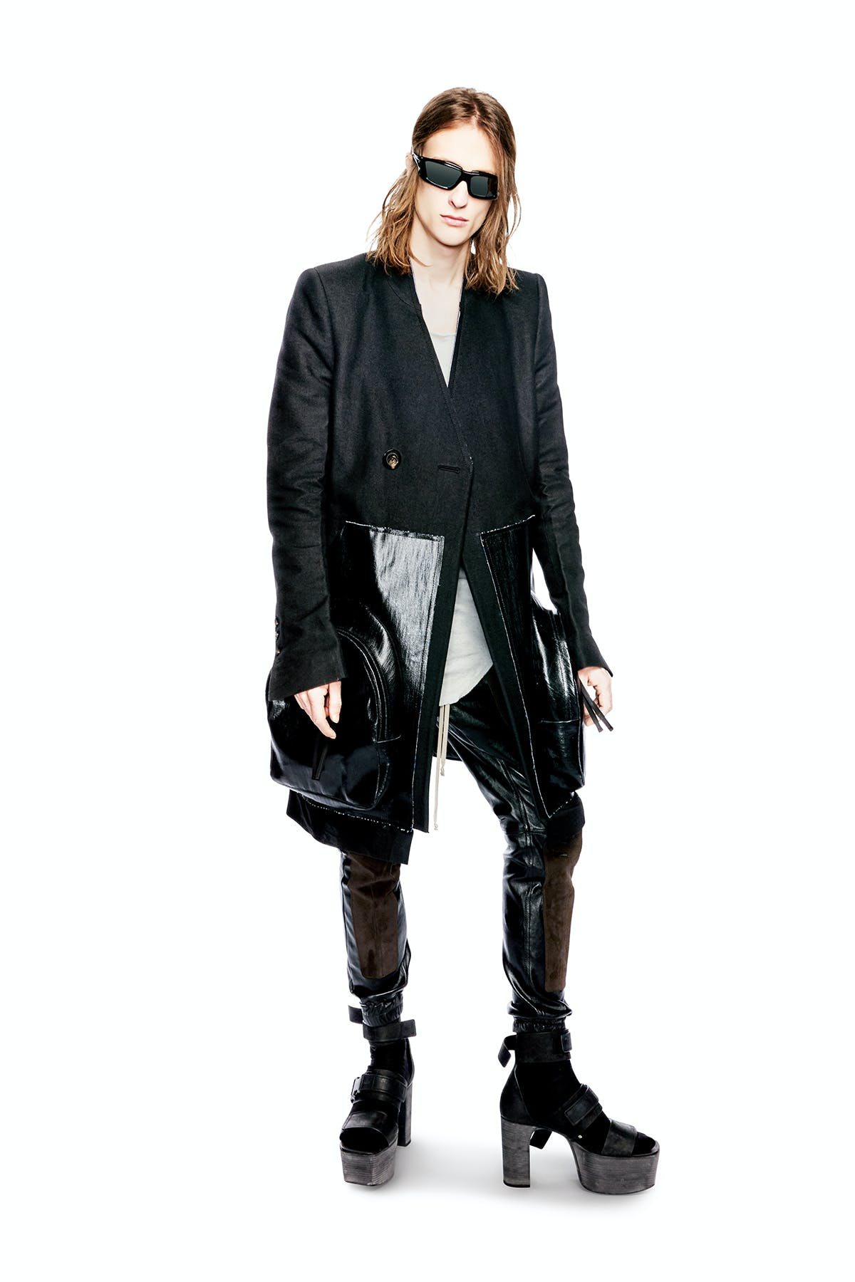 Rick Owens Campaign Double Injection Japanese Nylon Frame Sunglasses Mid length Coat With Leather Oversized Pockets Leather Joggers in Black Kiss Strap Boots Mens FW19 Larry