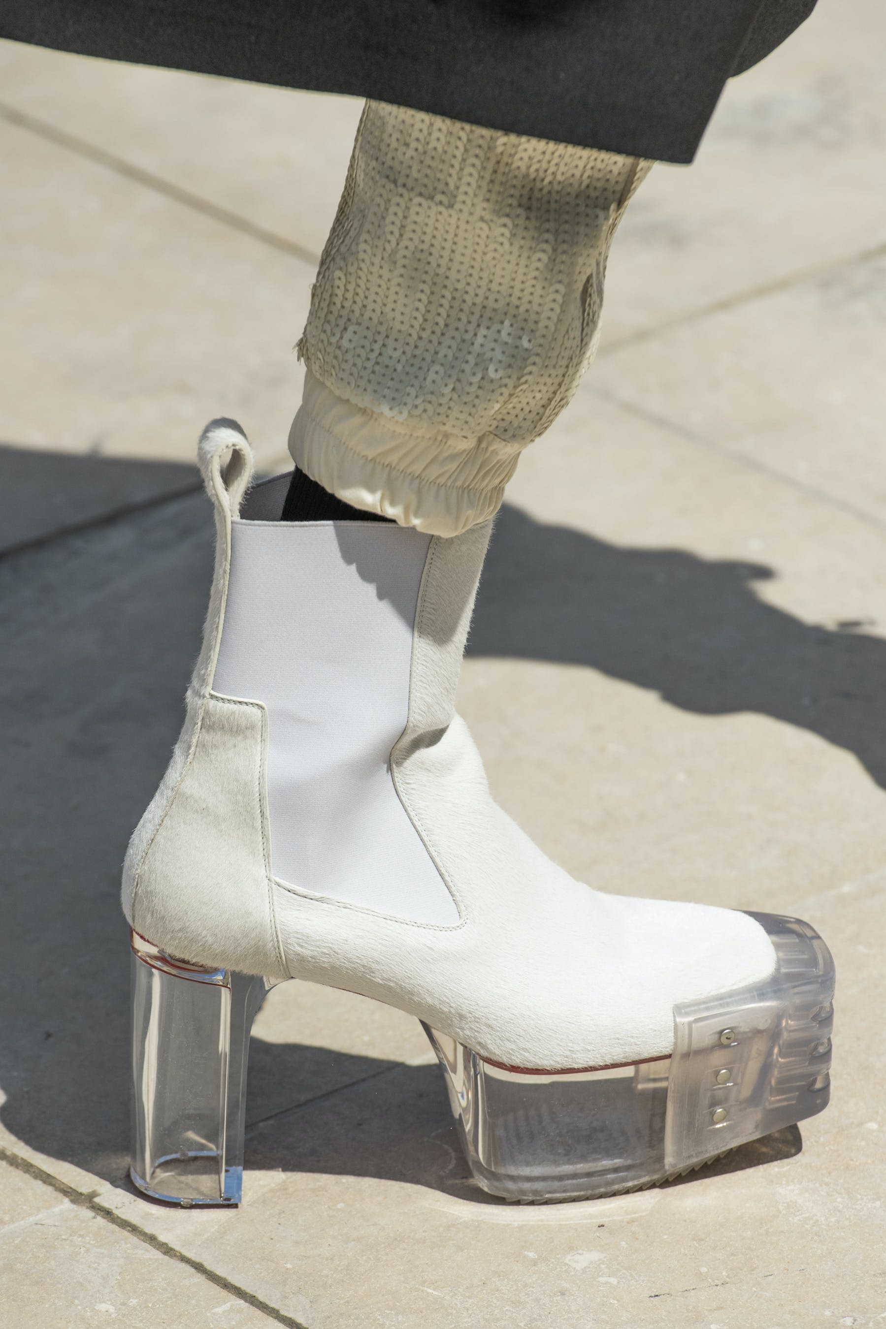 Rick Owens Runway Details Elastic Kiss Grill Boots In White With Transparent Heel Outside View Mens SS20 Tecautl