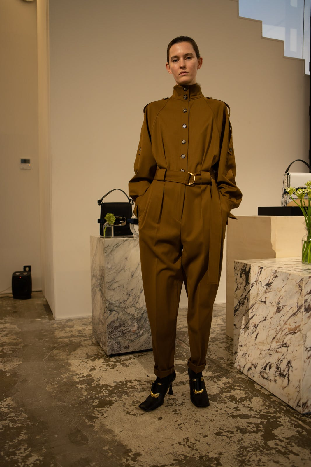 proenza schouler high neck belted brown jumpsuit