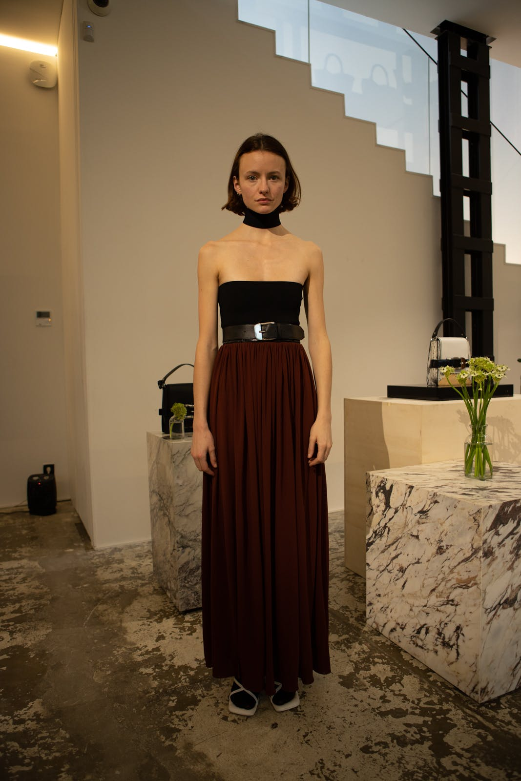 proenza schouler fw20 black tube top black belt brown high waisted skirt