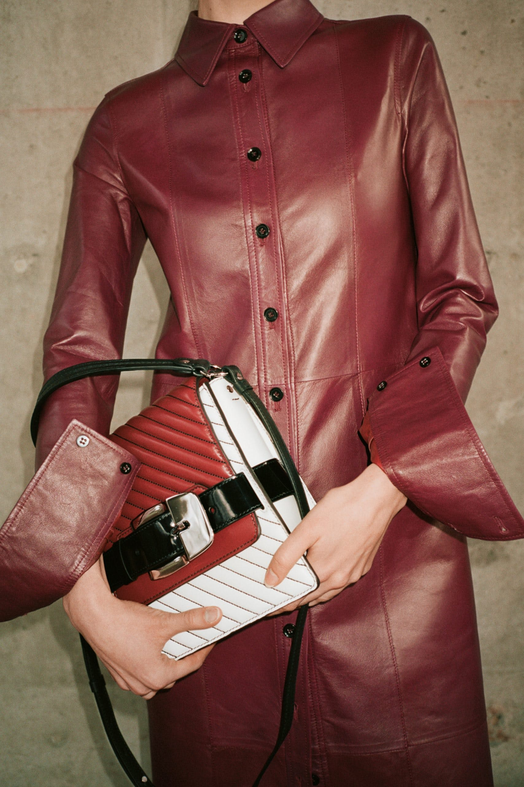 proenza schouler pf20 red and buckle bag  red button up leather coat