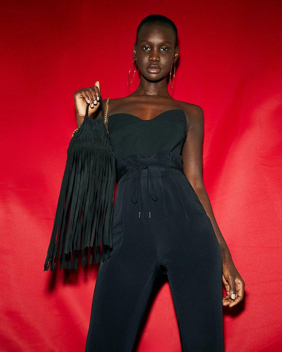 cushnie jamaican inspired spring summer 2019 bustier and fringe bag