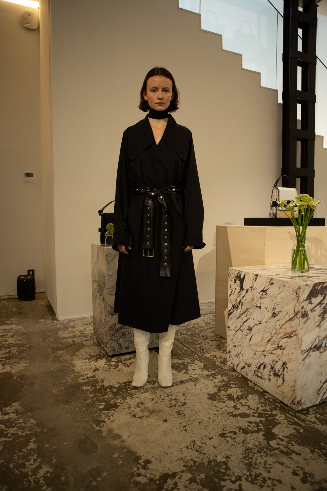 proenza schouler fw20 black leather belted coat white high boots