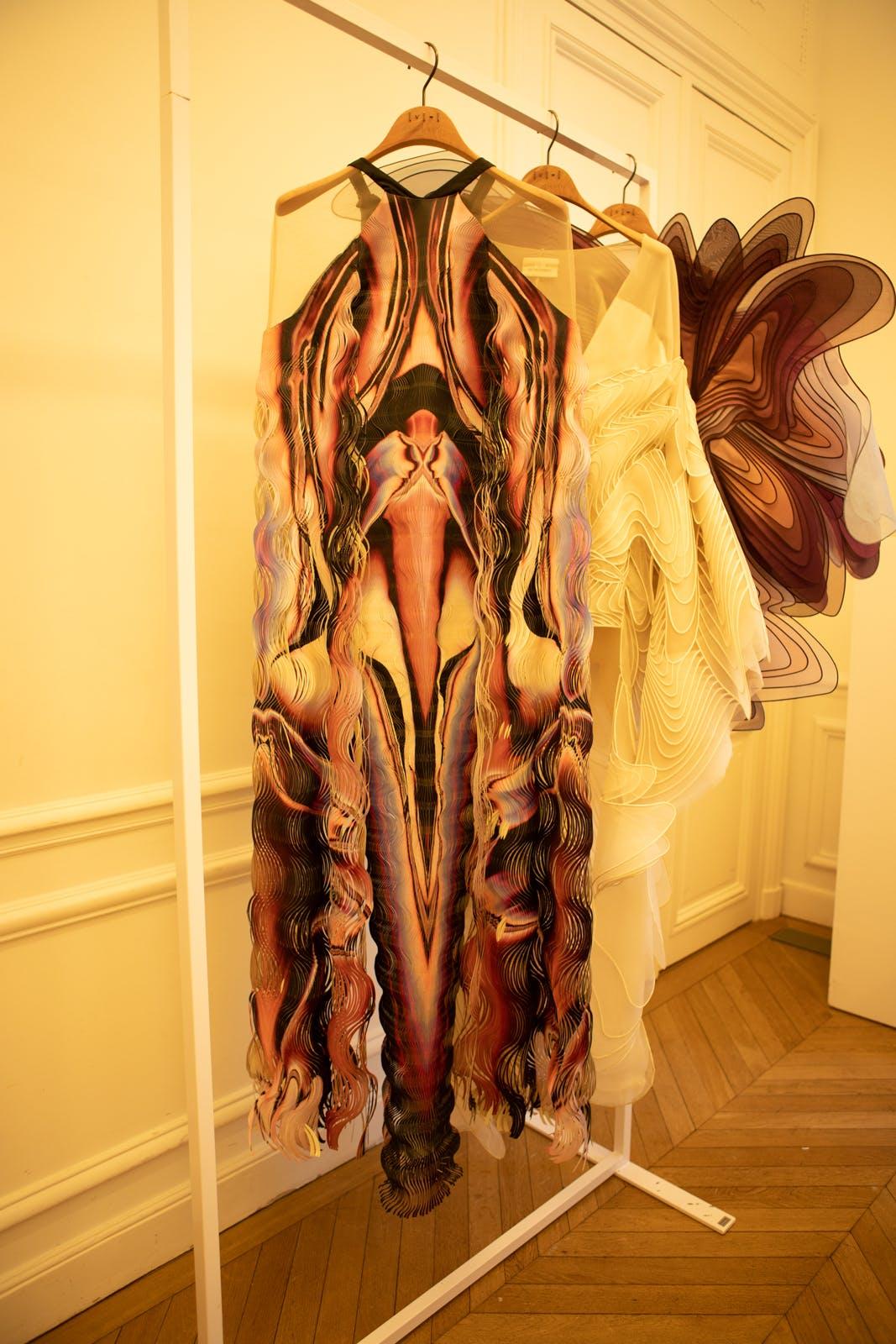 iris van herpen fw20 red black purple white sheer shoulder dress couture