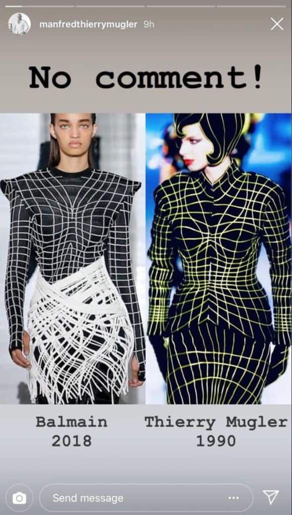 balmain thierry mugler copy scandal ss19 runway fashion oliver rousteing black white dress
