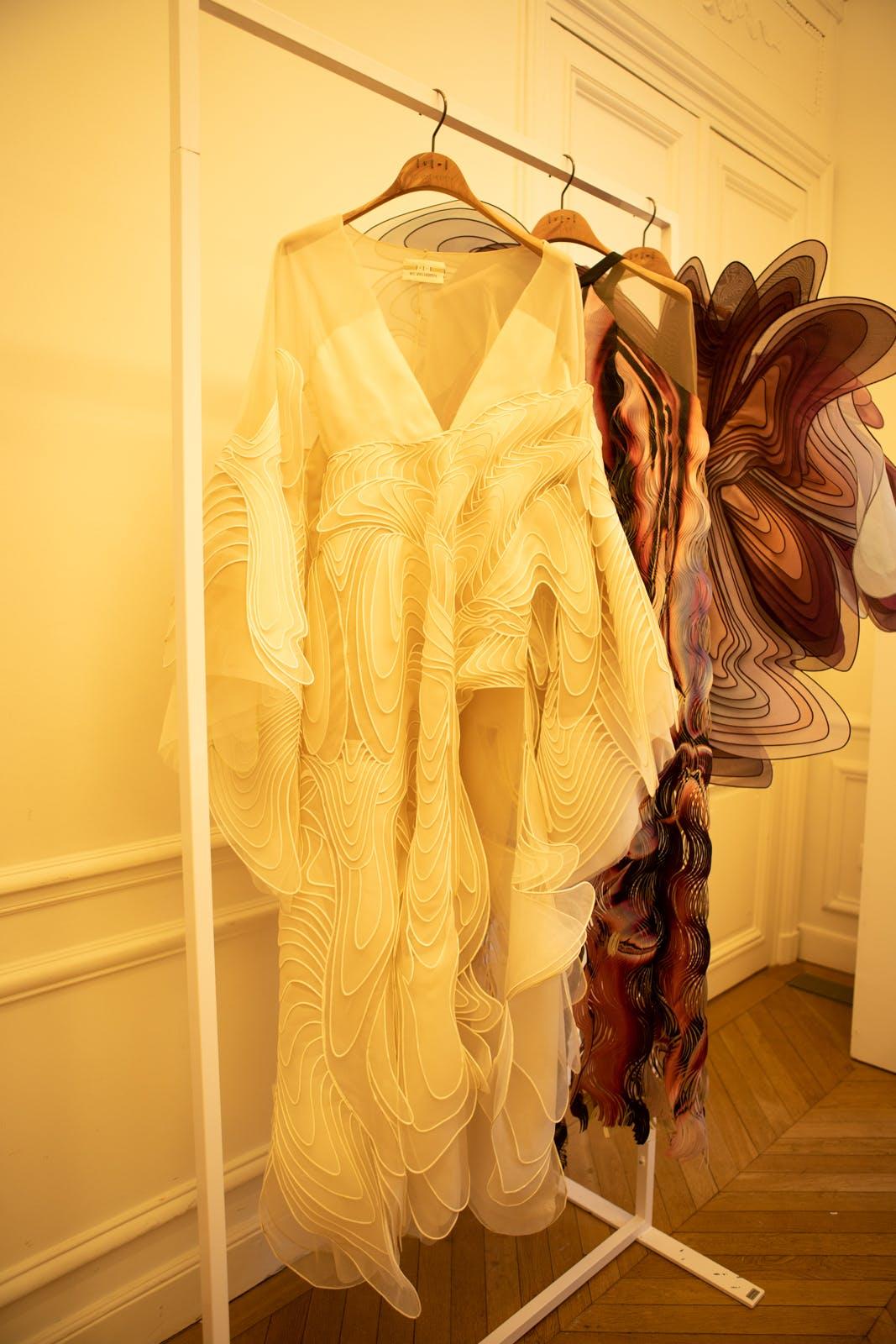 iris van herpen fw20 white long sleeved dress couture
