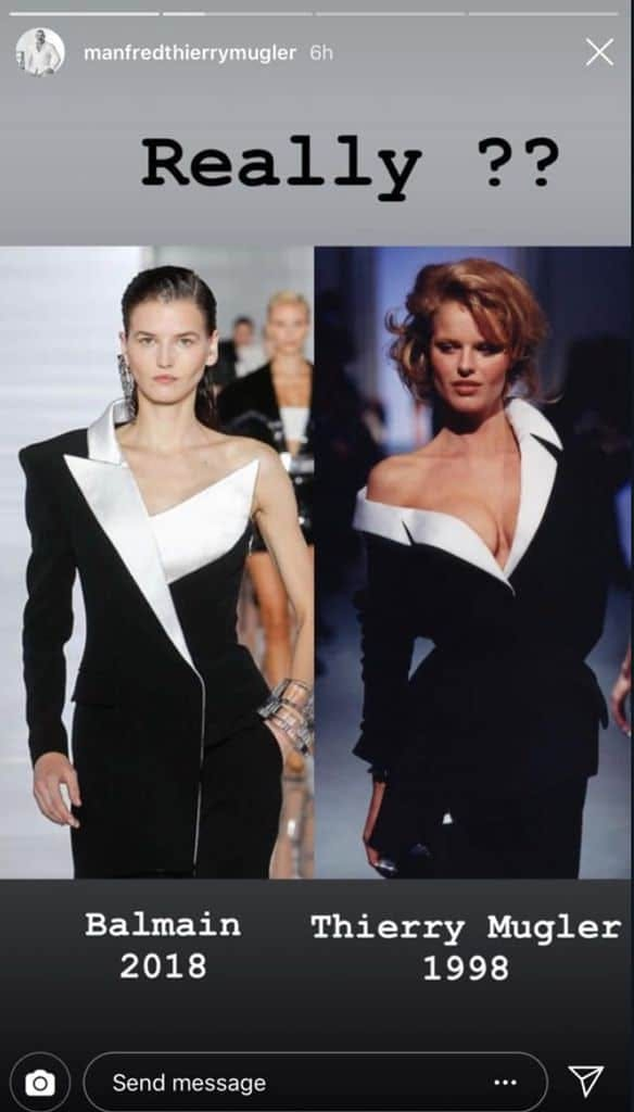 balmain thierry mugler copy scandal ss19 runway fashion oliver rousteing asymmetric black tuxedo dress